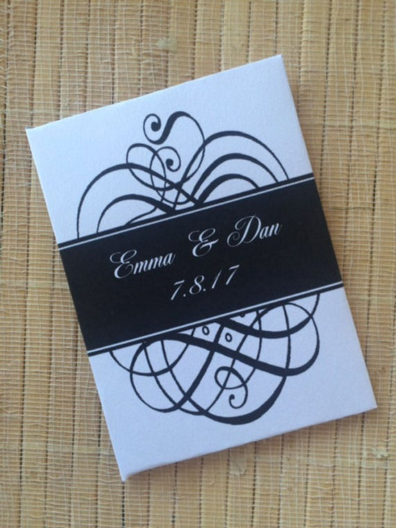 50 Wedding Favors, black and white Wedding decor, Wedding Seed Packets, black wedding favors, elegant wedding favors, scroll wedding