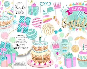 "Birthday clipart: ""HAPPY BIRTHDAY clipart"" with birthday clip art, party clipart, cake clipart, balloons clipart, gifts, 30 images"