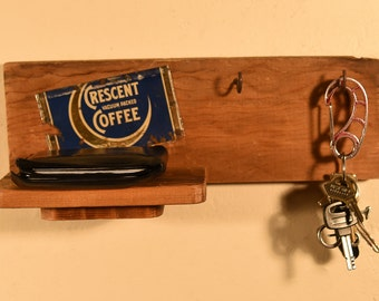 Key Hanger made from reclaimed wood and vintage tin, key rack, salvaged wood, Keys, wall hanging, rack, organizer, rustic, farmhouse chic