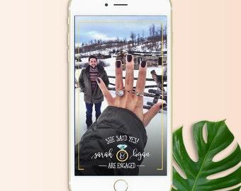 Snapchat Filter Engagement, Engagement Geofilter, Engagement Party, Wedding Engagement Filter, Custom Wedding Geofilter, Proposal Filter