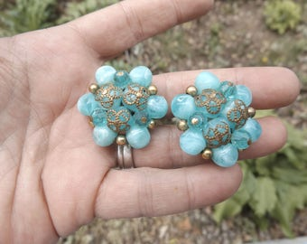 Lucite beaded cluster earrings Turquoise  1950's
