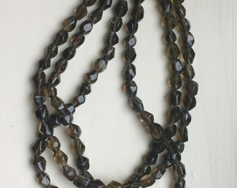 Smokey Quartz Triple Strand Necklace