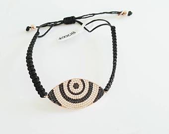 various designs evil eye macrame rose gold bracelet, colored zircons, 925 sterling silver