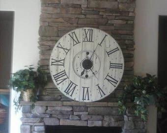farmhouse clock shiplap clock spool clock rustic wall clock huge clock