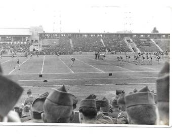 "Vintage Photo ""The Football Game"" military, soldier, old photo, black and white photo, snapshot, photography, paper ephemera"