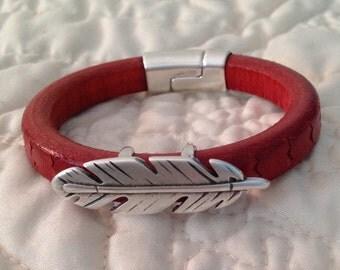Red Regaliz Licorice Leather Feather Bracelet