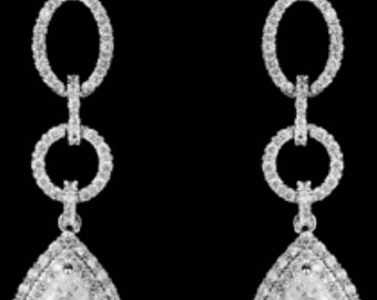 New Gorgeous Bridal Austrian CZ A+++ Crystal Double Ring Chandelier With Tear drop 2 1/4  '' L  Statement Pierced Earrings