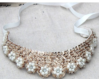 Vintage clothing  Pearl Beaded Lace Collar Necklace  #7