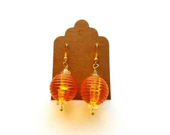 Gold Wires with Large Orange Acrylic and Glass Beads Earrings Handmade by Cialeigh