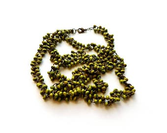 Antique Brass with Natural Dyed Green Wood Beads Handmade Bauble Necklace