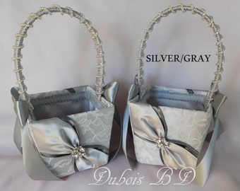 Two (2) Flower girl baskets, Silver and Gray flower girl basket, Wedding basket, Lace flower girl basket, Wedding decorations, Silver basket