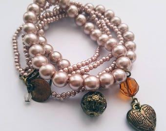 Dusky Pink Stacker Bracelet Set. Gift.