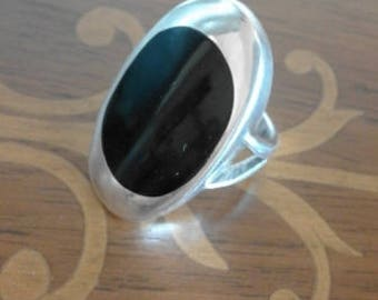 Silver and black onix ring - vintage - 80's -