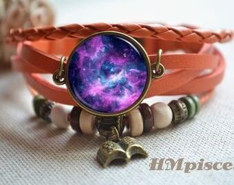 Purple Galaxy bracelet,Galaxy bracelet,Space nebula leather bracelet,book charm bracelet,woven braided leather bracelet (SL072)