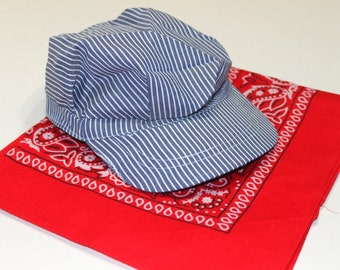 Train conductor hat and red bandana, train birthday dress up, train birthday photo prop,