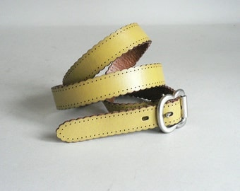 Womens Fossil Skinny Yellow Leather Belt