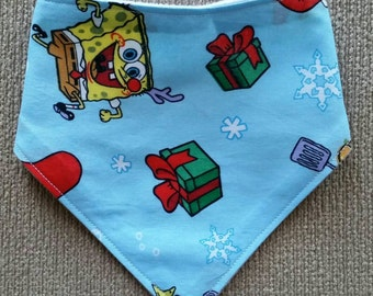 Sponge Bob Christmas baby bandana bib, cotton upper, plain white minky backing, Australian Handmade