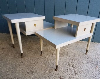 Unique Vintage Mid-Century Blond Two-Tiered End Tables, Set of Two