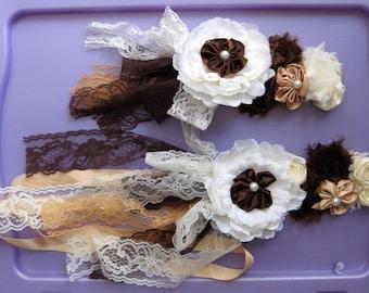 Wedding sash, maternity sash, floral sash with matching headbands