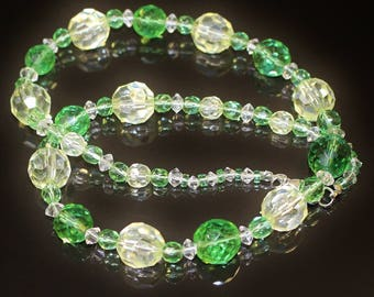 Vintage Necklace Soft Green and Citrine Crystal Black Rhino Design Single Strand Mixed Sizes and Shapes Lightly Graded Transparent Beads