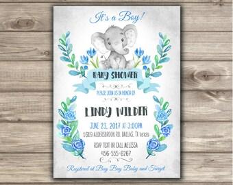 Elephant Baby Shower Invitations Baby Boy NV0234