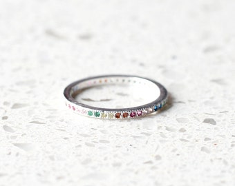 R1025 - New Rainbow Thin Silver Band Sterling Silver Ring