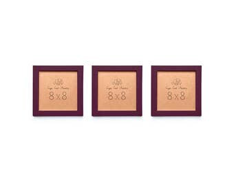 8x8 Picture Frame Set. Three 8x8 Frames in  Burgundy Wine. Frame 8x8 Instagram Prints or 8x8 Art Prints.