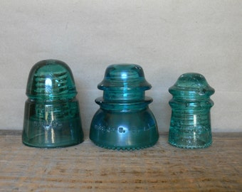 Glass Insulators 3 Aqua Colored Glass Utility Wire Insulators, Vintage Antique Aqua Glass Insulators Decorative Collectible