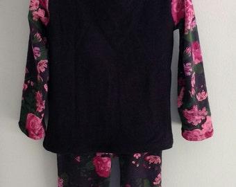 SALE Organic Knit Jersey Cotton Floral Vintage Black Pink Pants Leggings Outfit - 2T - Toddler - Panty - Set Scrundies Undies Bamboo Jersey