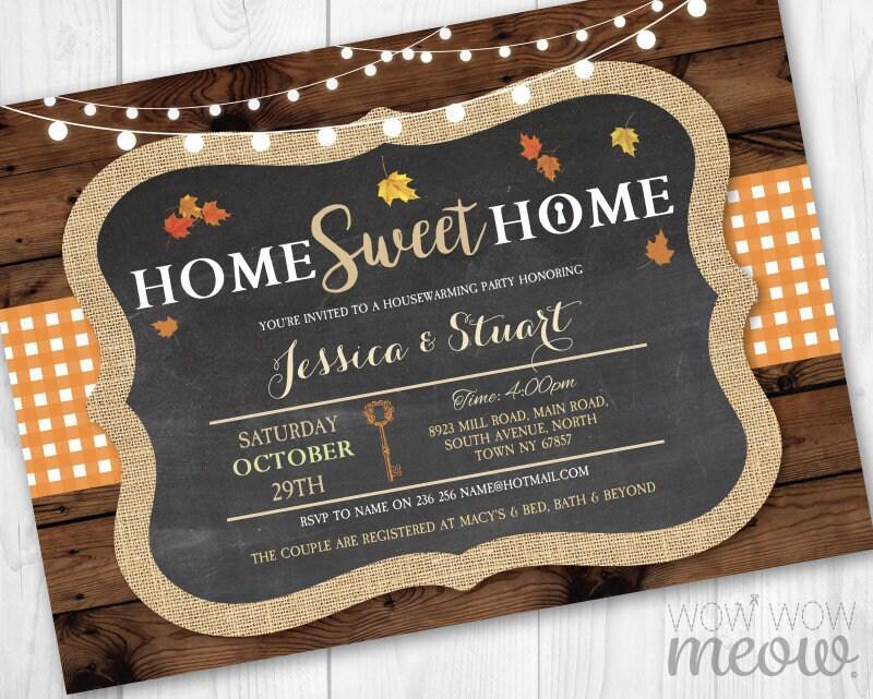 home sweet home housewarming fall invite new house invitation