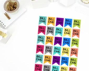 Bills Due Flag Stickers! Perfect for your Erin Condren Life Planner, calendar, Paper Plum, Filofax!