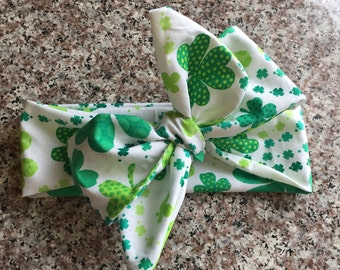 Shamrock headwrap, st patricks day headwrap, headwrap, green headwrap