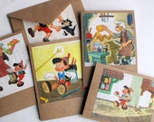 vintage Walt Disney Pinocchio handmade all occasion blank cards - vintage Pinocchio Walt Disney - book illustration card set