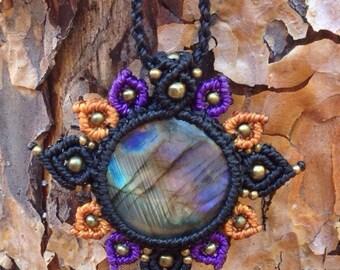 Labradorite mandala macramé flower necklace. Gypsy,boho hippie jewelry
