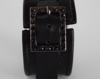 Black leather bracelet with rhinestone buckle, made in Italy