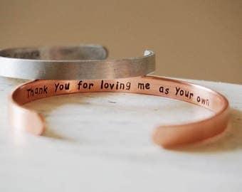Stepmom gifts,stepmom bracelet, stepmom cuffs bracelet, mantra band, mantra bracelet, rose gold bracelet stepmom, Stepmother wedding gift