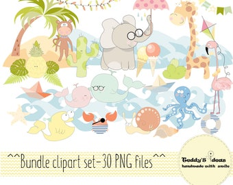 Bundle clipart, Combo clipart, animals clipart, nautical, exotic clipart