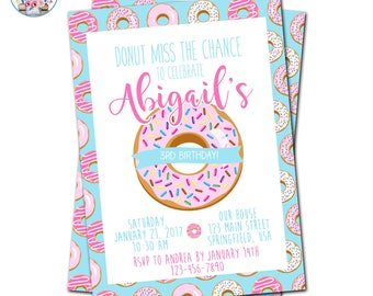 Donut Party Invitation, Donut Party, Donut Invitation, Doughnut Invitation, Donut Birthday Party