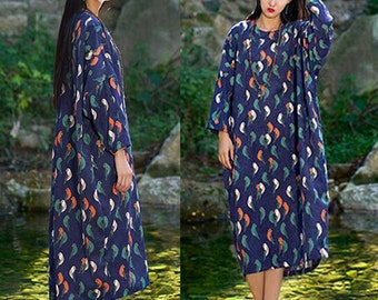 Flora Linen Women Dress Linen Women Dresses Many Colors Plus Size YZ--89