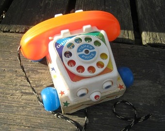 Fisher Price Telephone Pull Toy, Wood Base, Plastic Phone, Vintage Toy, #747 Chatter Phone, Rotary Dial Phone, Complete