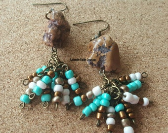Turquoise White and Gold Seed Beed Dangle Earrings (201727E)