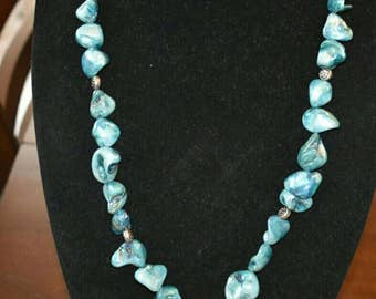 Light Blue Mother-of-Pearl Shell Bead Necklace with Metal Filigree Heart (201721N)