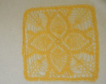 Yellow pineapple Square Doily