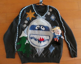 """Unique Ugly Christmas Sweater 'Rudolph the Red Nised Reindeer"""" XL"""