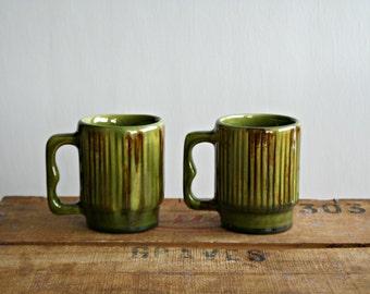 Vintage Pair of Quebec Pottery Mugs, Avocado Green Drip Glaze Coffee Mugs