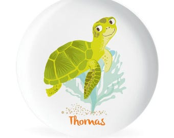 Kids PLATE - Personalized Sea Turtle Dish for kids - Ocean
