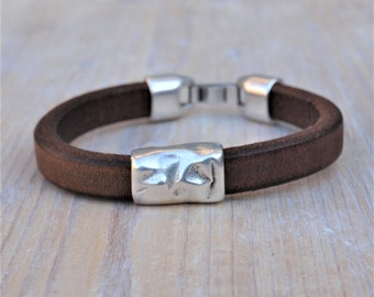 Bracelet for men, thick leather, hammered slider, brown,black,blue leather,