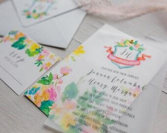 Wedding Invitation Suite, Floral Watercolor Invitation, Crest Vellum Invite Set, Vellum