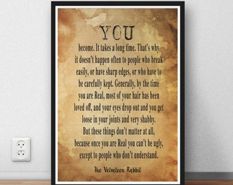 Velveteen Rabbit Quote - literary print wall art home decor inspiration motivation print literary