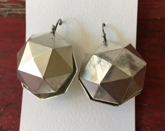 """Upcycled Silver Separating """"Disco Ball"""" Earrings"""